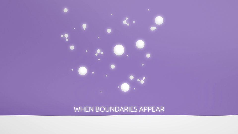 Ausschnitt aus der vier Werte Animation - bürkert überwindet Grenzen mit Schriftzug