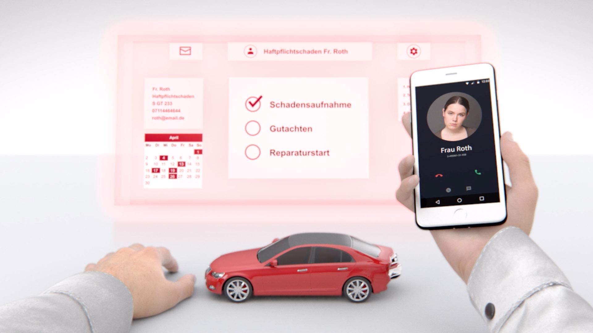 Ausschnitt aus GTÜ Hands Motion Capture - Hände mit Automodell und Handy