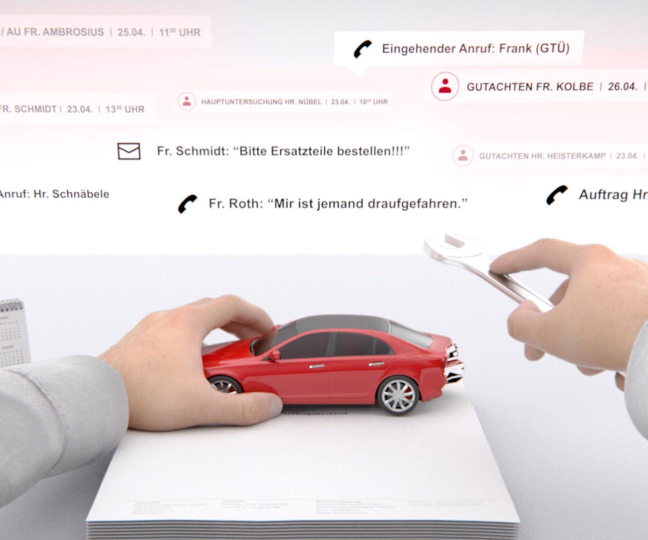Ausschnitt aus GTÜ Hands Motion Capture - Hände halten Automodell
