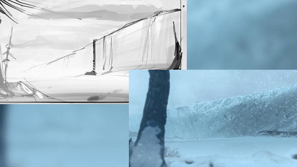 Gegenüberstellung: Eismauer-Scribble vs finaler Shot von bedanova Extrawärme Kinospot
