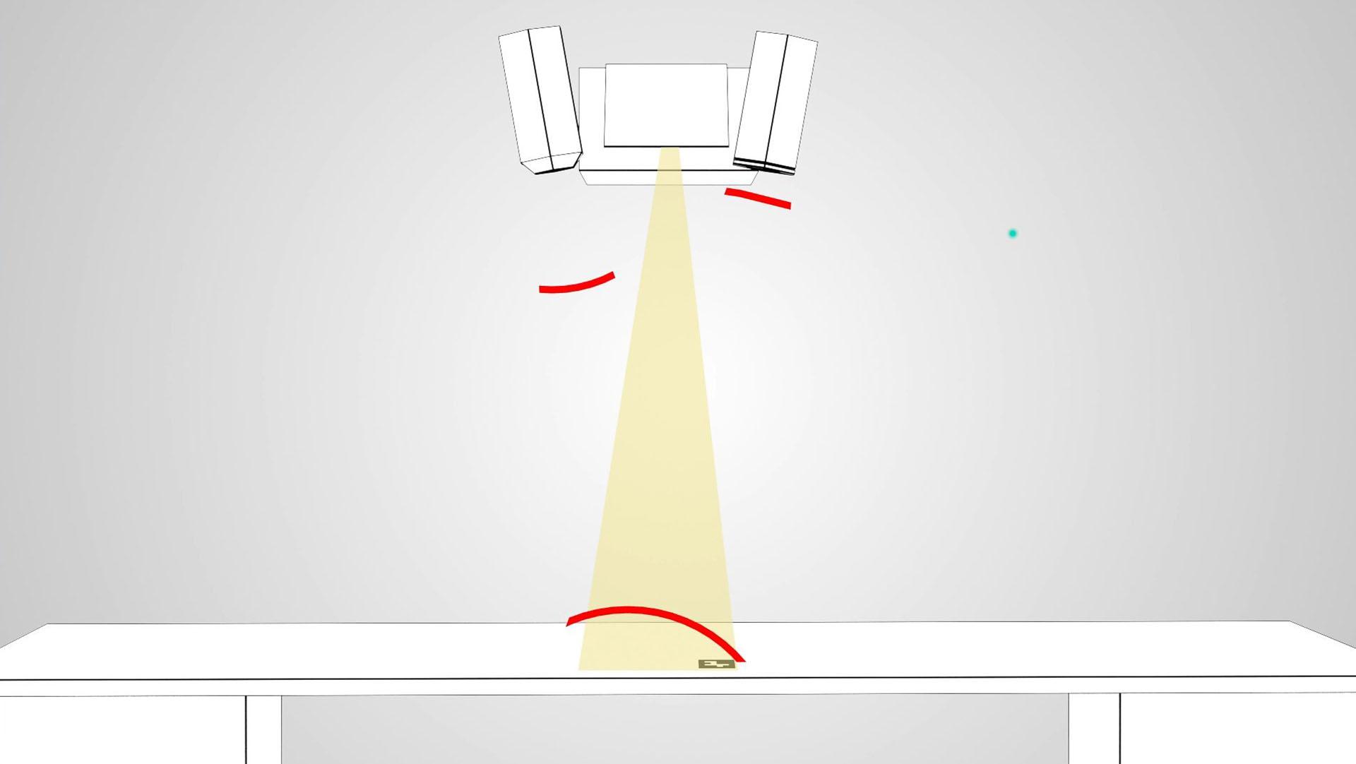 Grafik mit Infrarotkamera und Marker zeigt den Aufbau des interaktiven Fontane Tisches