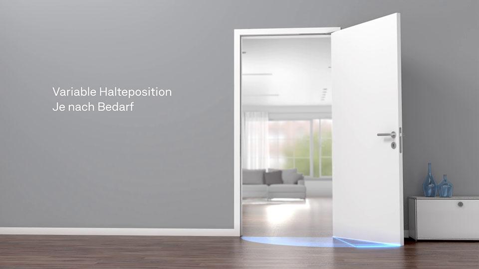 Ausschnit aus der GEZE Active Stop 3D-Animation - Türe in gerendertem Raum schwingt auf mit Text
