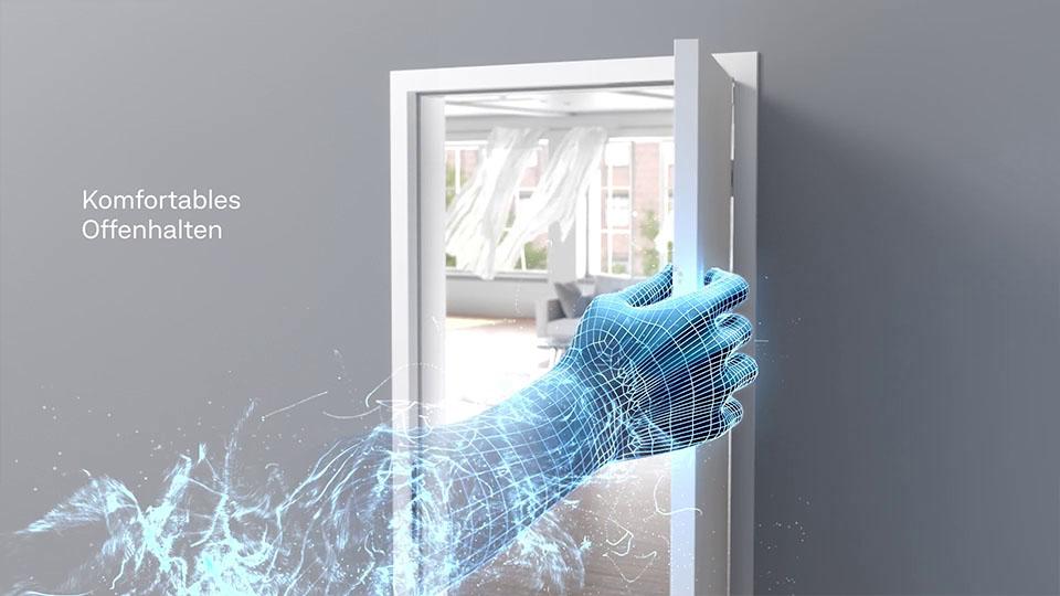 Ausschnit aus der GEZE Active Stop 3D-Animation - CG Hand hält Türe fest mit Text