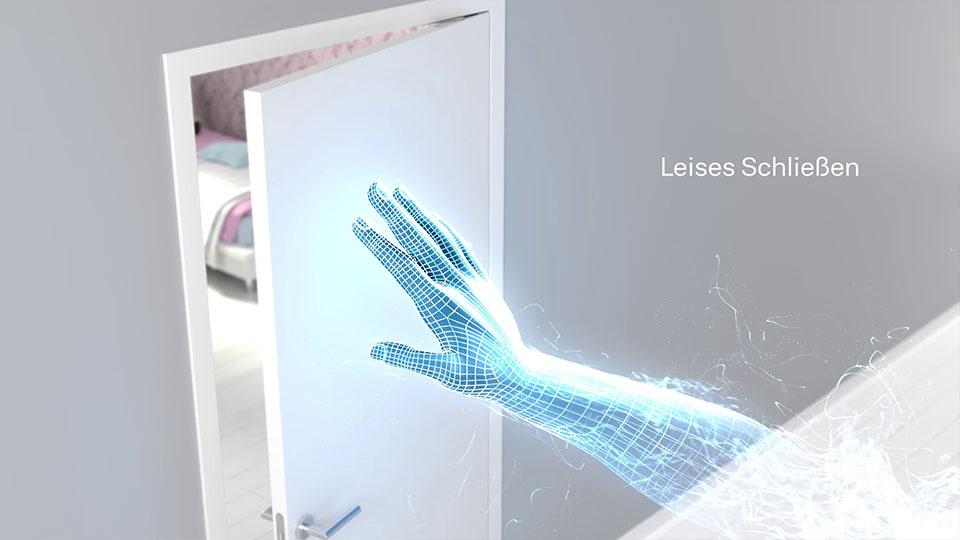 Ausschnit aus der GEZE Active Stop 3D-Animation - CG Hand schließt Tür mit Text
