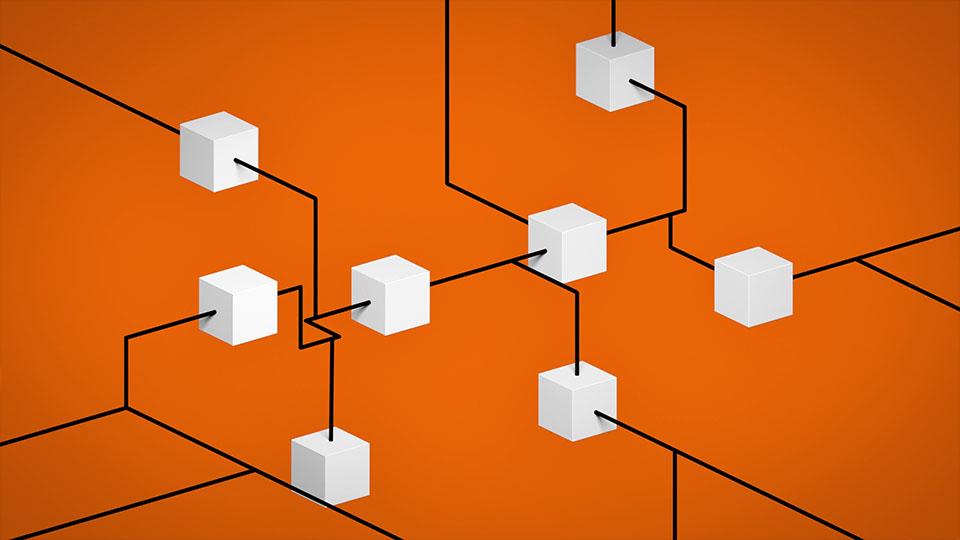 Ausschnitt aus Lapp Train- Weiße 3D Würfel auf orangem Grund