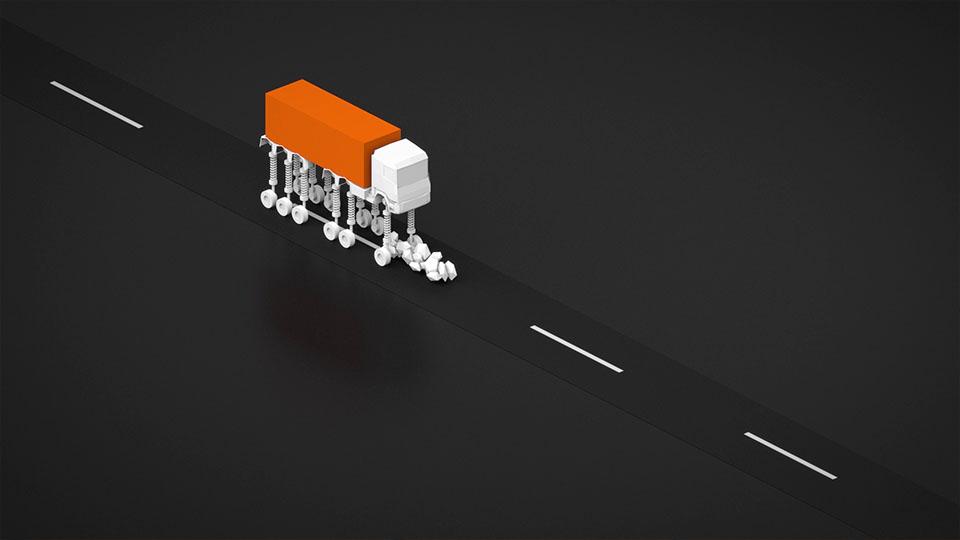 Ausschnitt aus Lapp Train - 3D LKW federt hoch