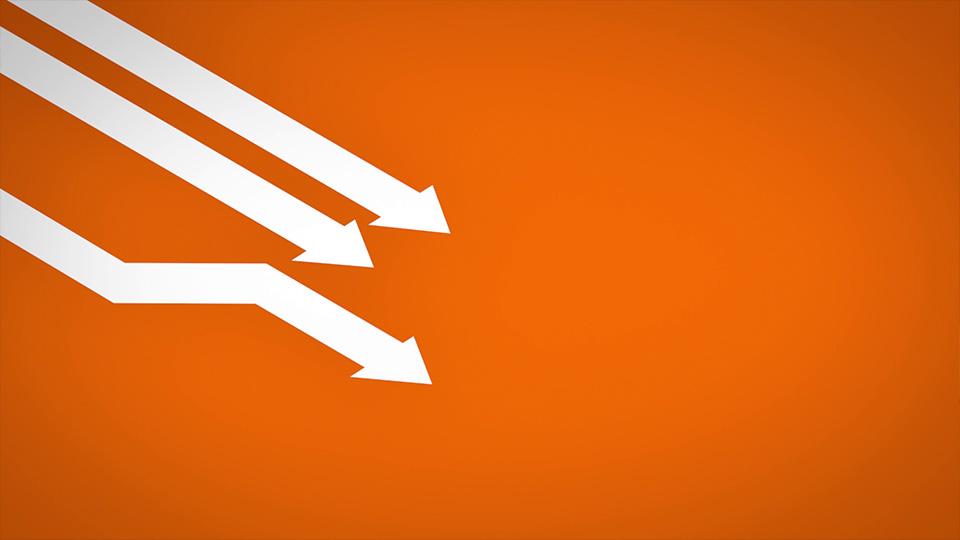 Ausschnitt aus Lapp Train - 3 weiße Pfeile auf orangem Grund
