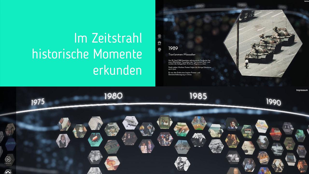 Ausschnitt aus Making-Of - Museum Frankfurt Vergessen Interaktiver Tisch - Abbildung des Zeitstrahls
