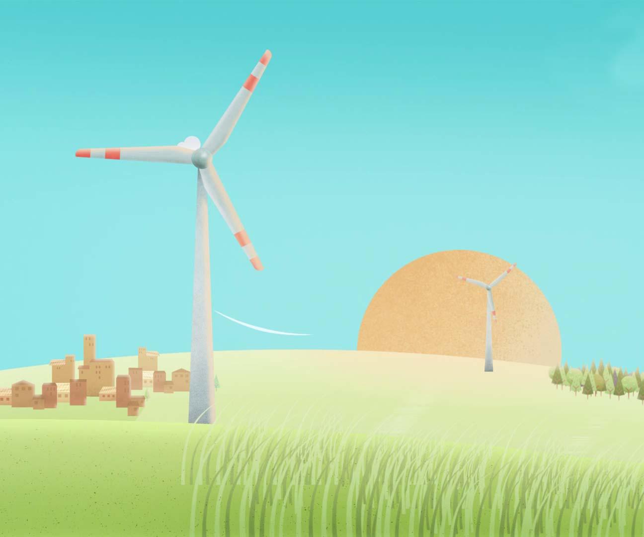 Zwei Windräder in grüner Landschaft