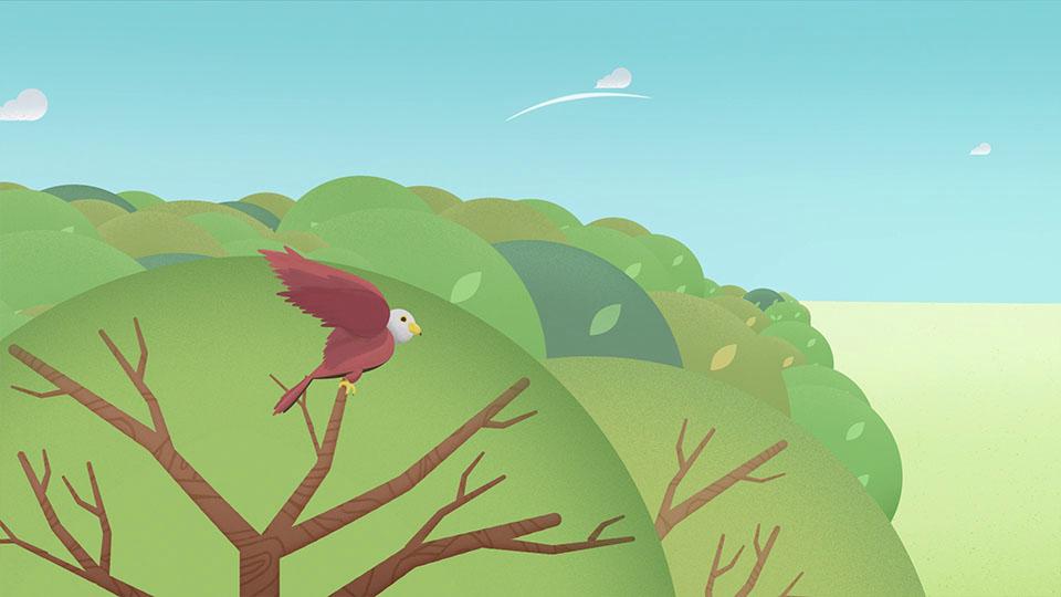 Adler startet aus Baumwipfel