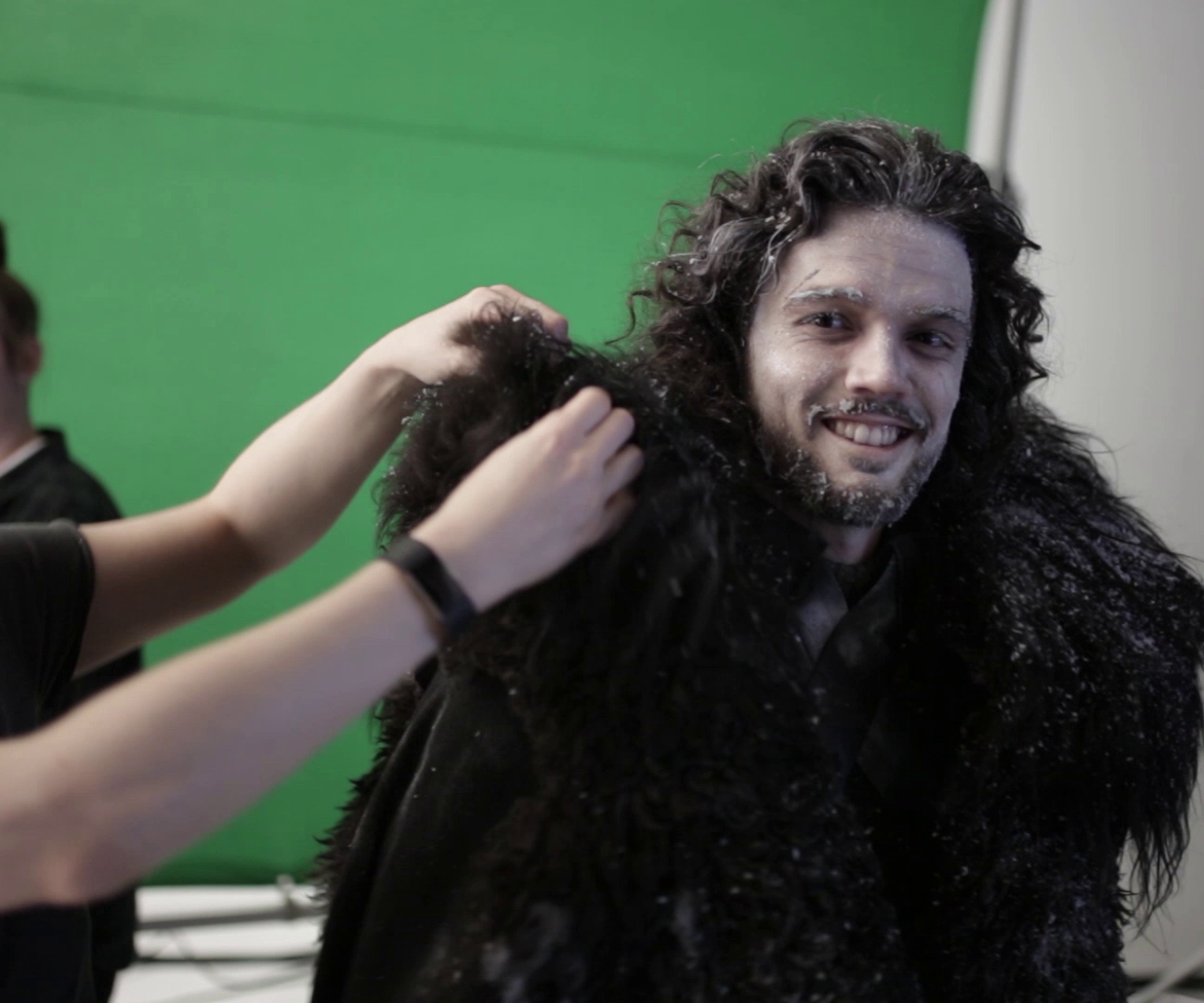 badenova Extrawärme VFX Breakdown - John Schnee vor Greenscreen